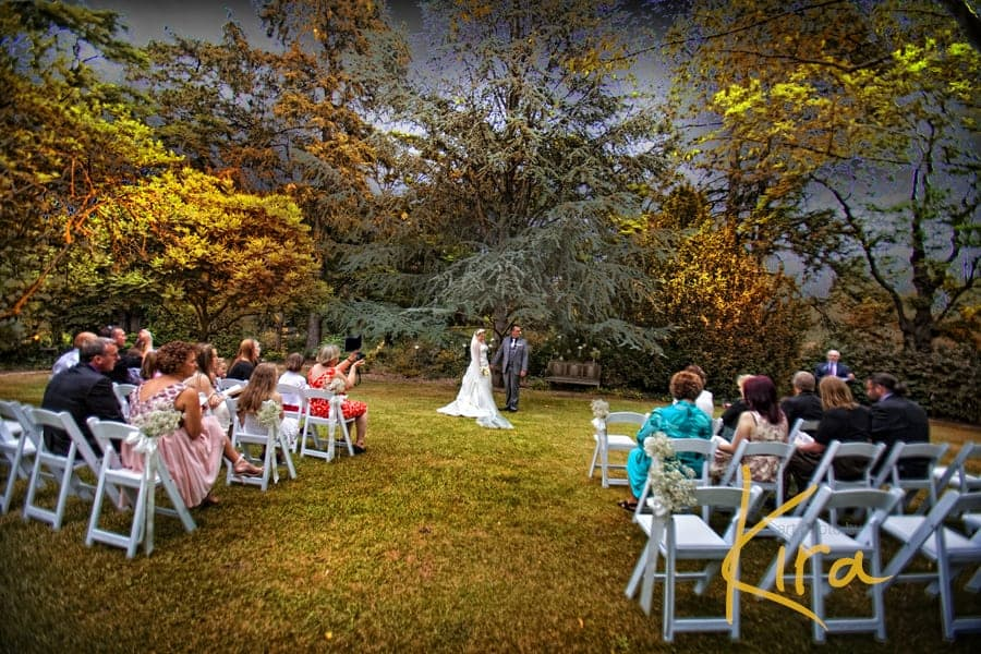 Bride and groom at their ceremony at Athol Gardens