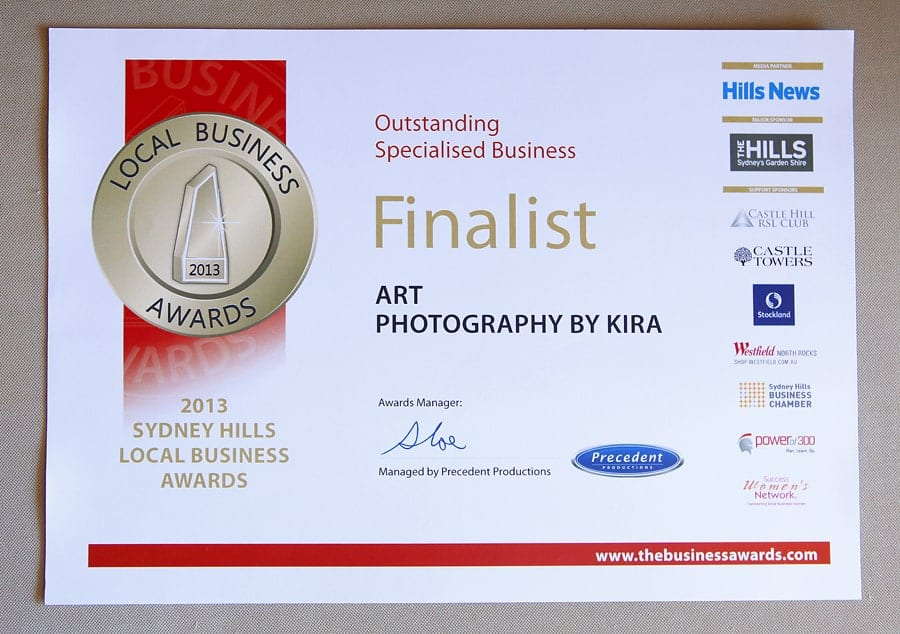 Art Photography by Kira is a Finalist in Hills Small Business Awards