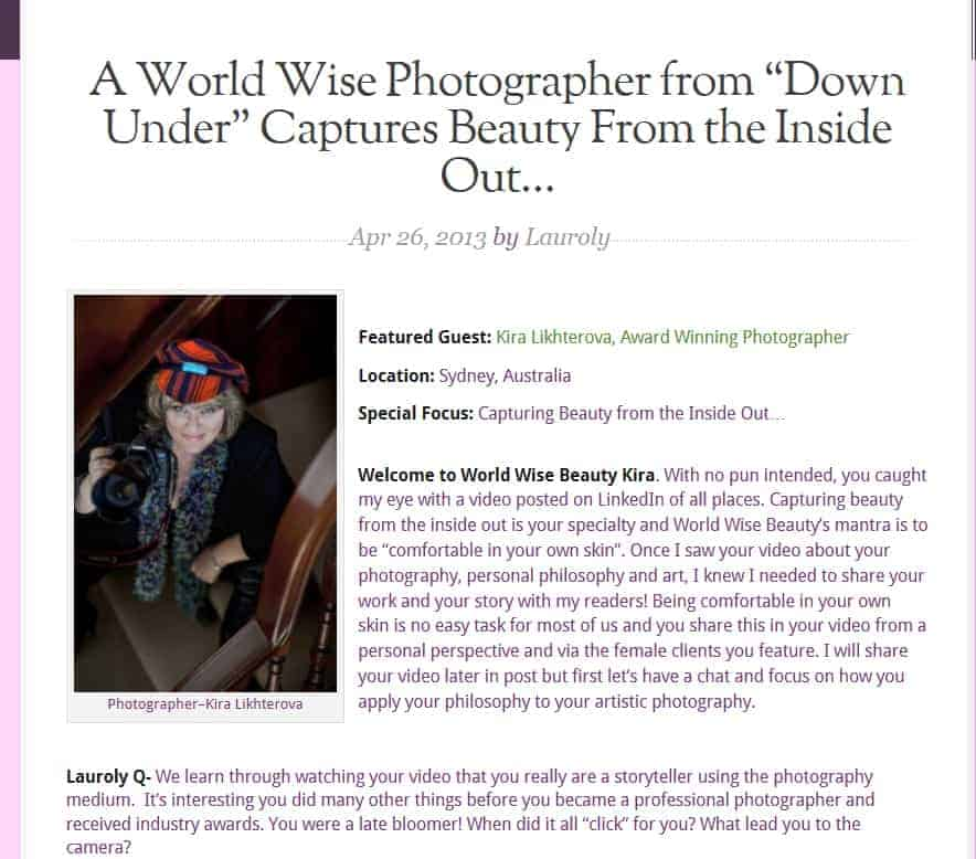 Glamour boudoir photographer interviewed