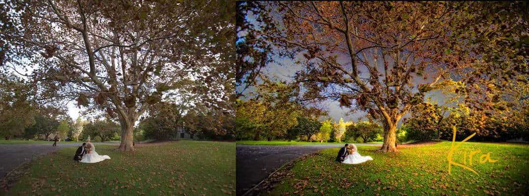 Before and After wedding photo