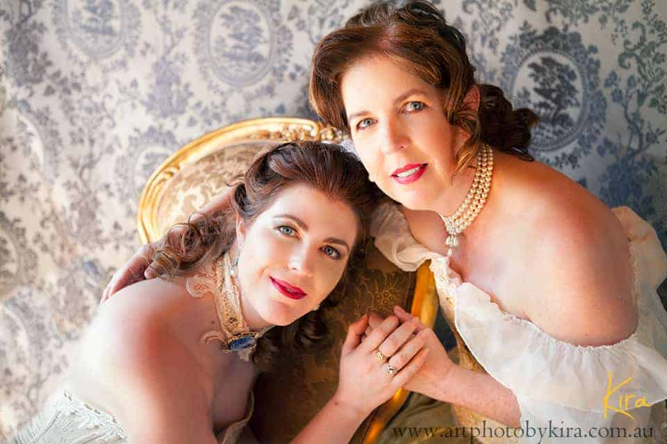 mother and daughter glamour portrait