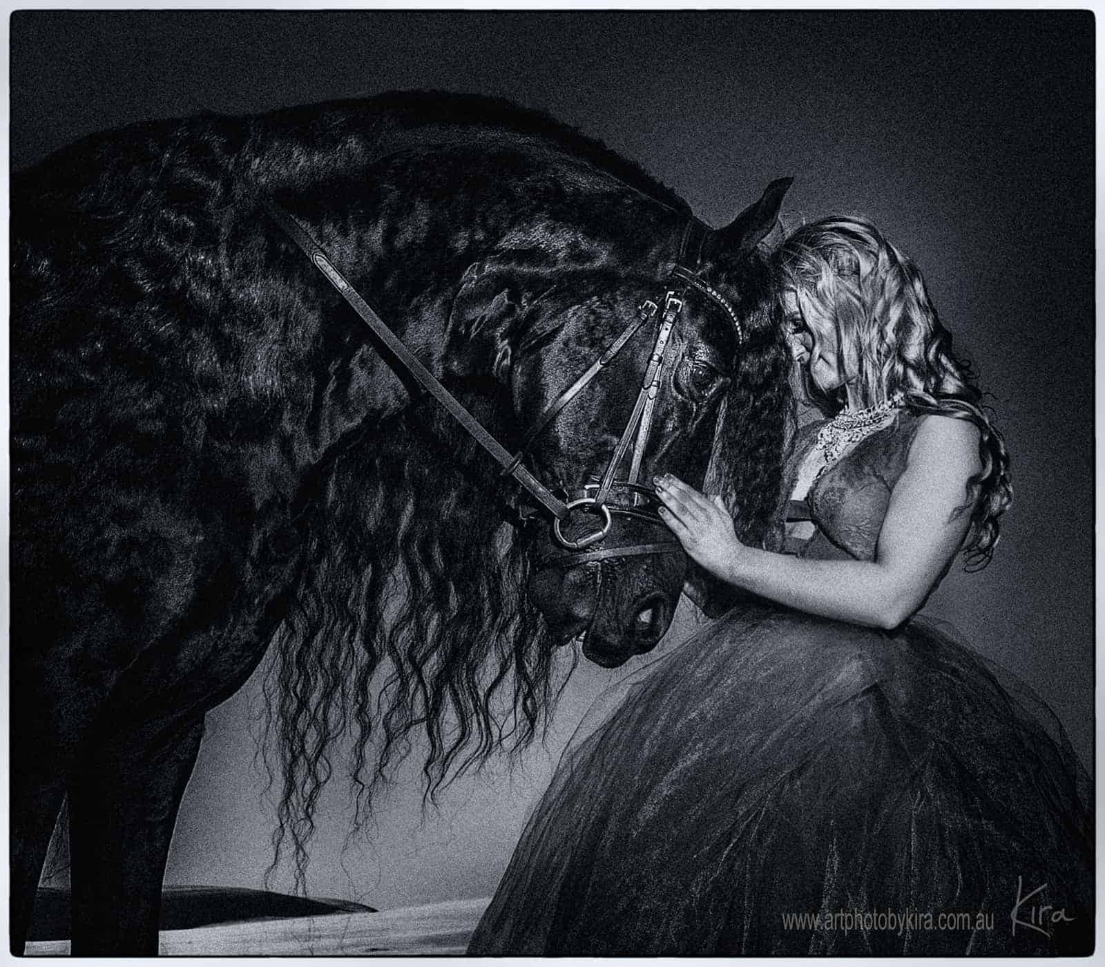 glamour photography with black horse
