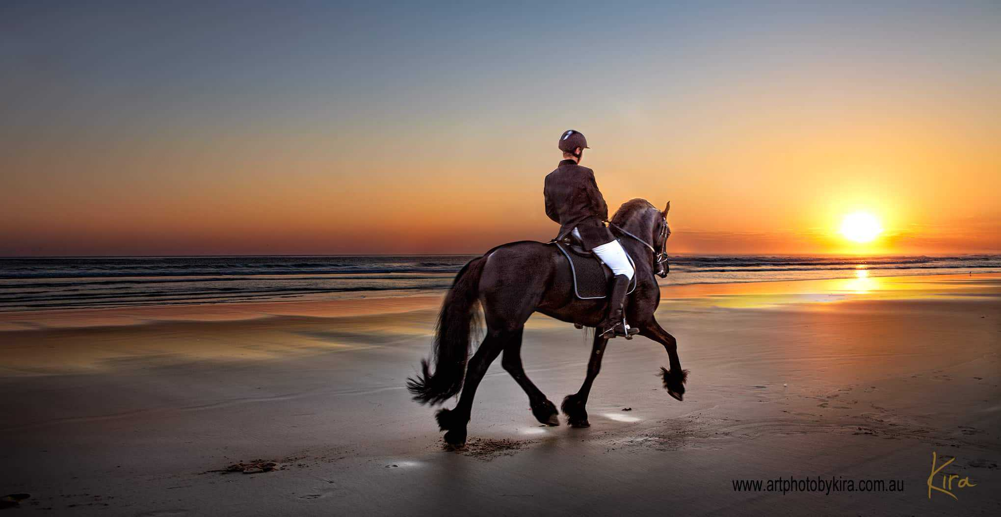 glamour shot with horse riding into sunset