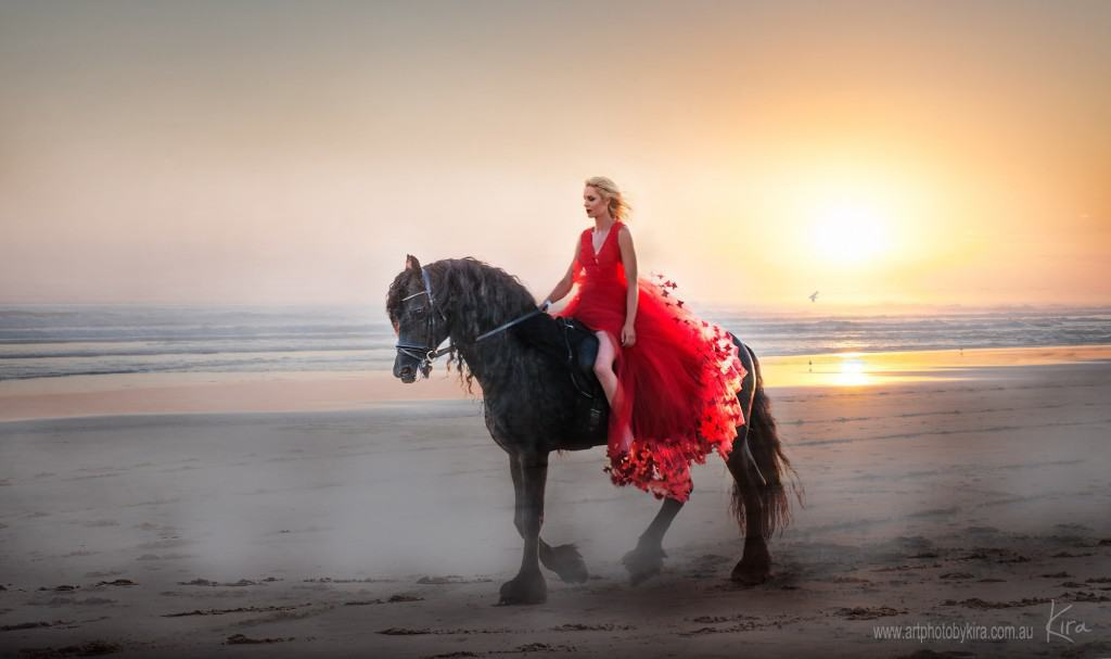 glamour photography with friesian horse