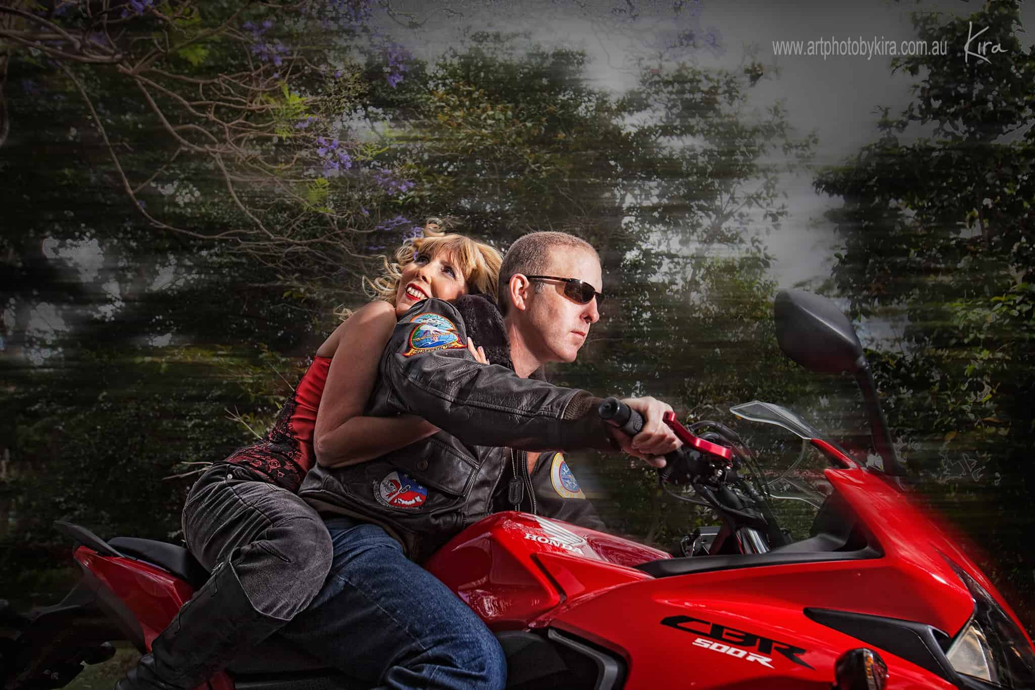 couples portrait photography motorcycle