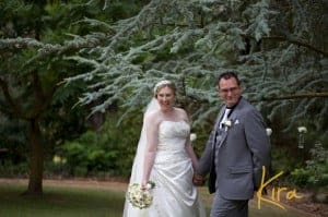 Bride and groom at their ceremony at Athol Garden