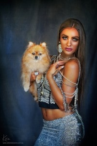 glamour shots with dog Kira